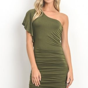 Dresses & Skirts - Off Shoulder Body Contour Dress - Green